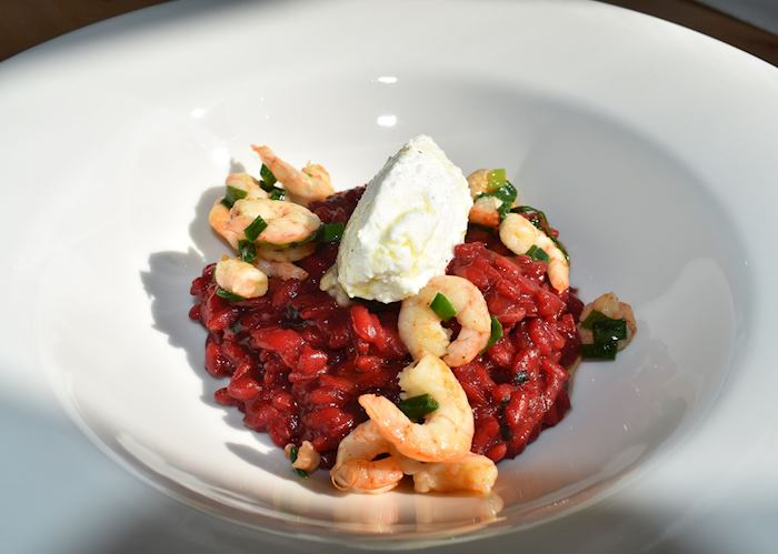 Beetroot risotto with prawns, Trogir