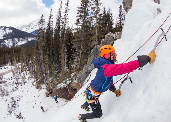 Frozen waterfall ice climbing experience, Jasper