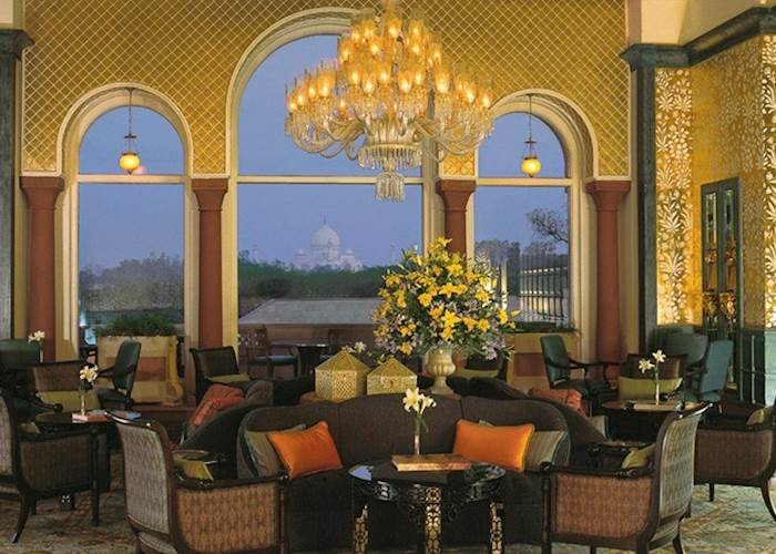 View of the Taj Mahal from the lounge at Amarvilas, Agra
