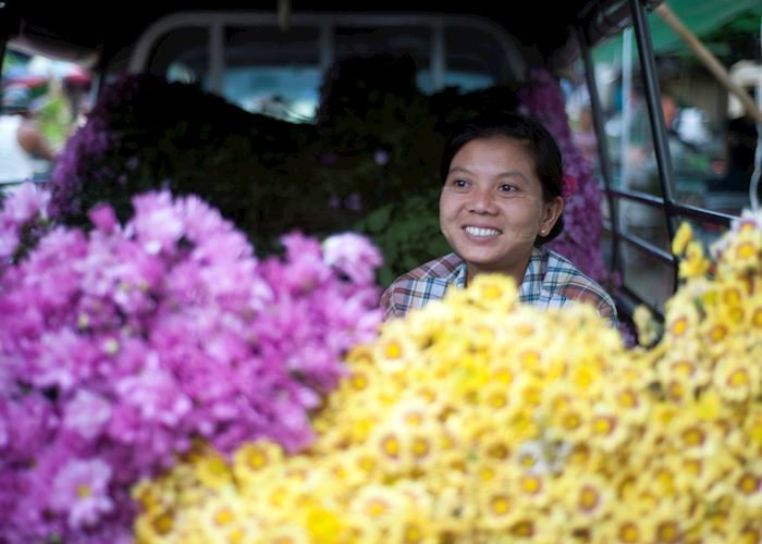 Vendor at the Mandalay Flower Market, Burma (Myanmar)