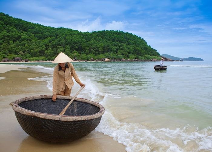 Coracle boats at Lang Co Beach, Central Vietnam
