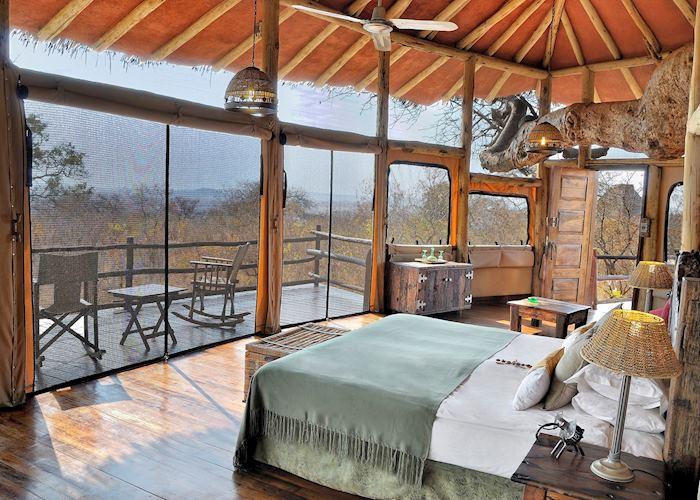 Tarangire Treetops guest bedroom, Tarangire National Park