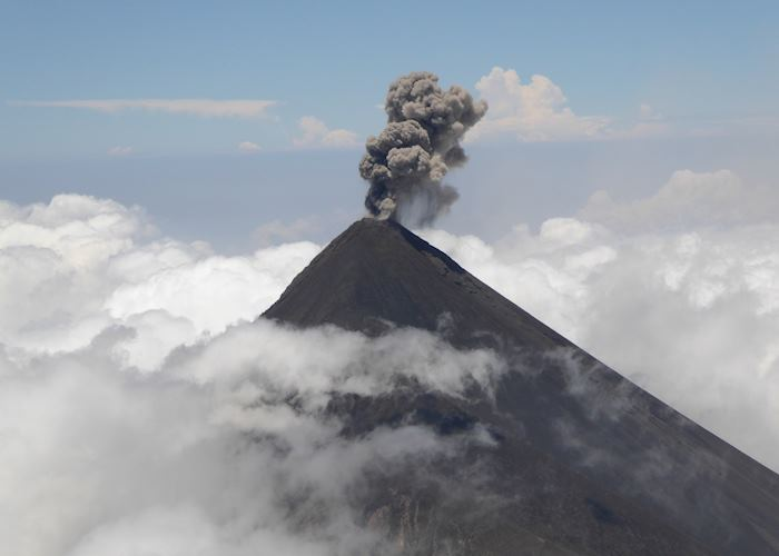 View of Fuego Volcano erupting from the summit of Acatenango Volcano