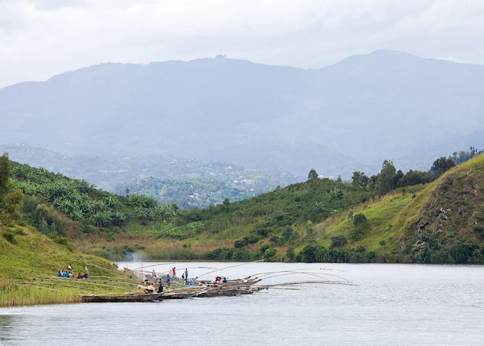 Fishermen along the shores of Lake Kivu