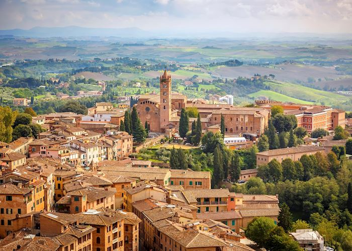 Aerial view over Siena, Tuscany
