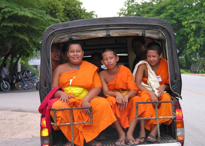 Young Monks travelling by Songtheaw, Chiang Mai