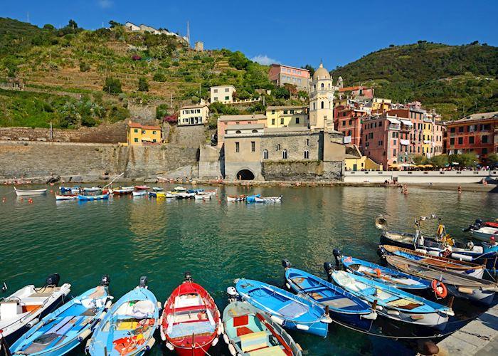 Boats docked in Vernazza, Cinque Terre