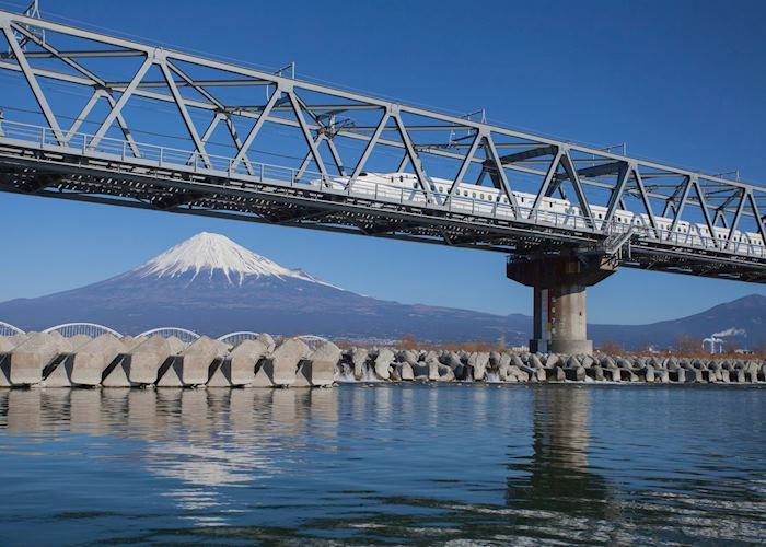 'Shinkansen' bullet train and Mount Fuji
