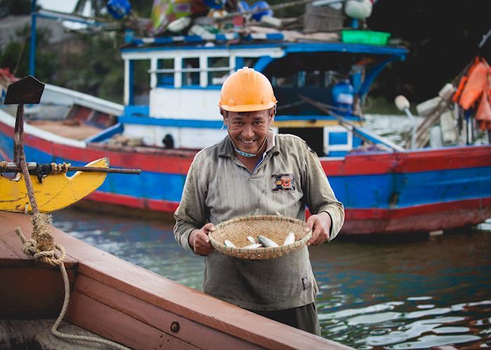 Happy Fisherman in Hoi An during the Fishermen and Waterways tour