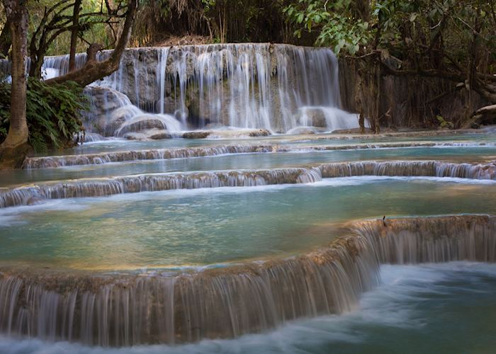 Cascading Kuang Si waterfalls in Luang Prabang, Laos