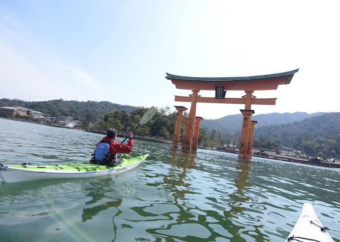 Kayaking around Itsukushima Gate, Miyajima Island
