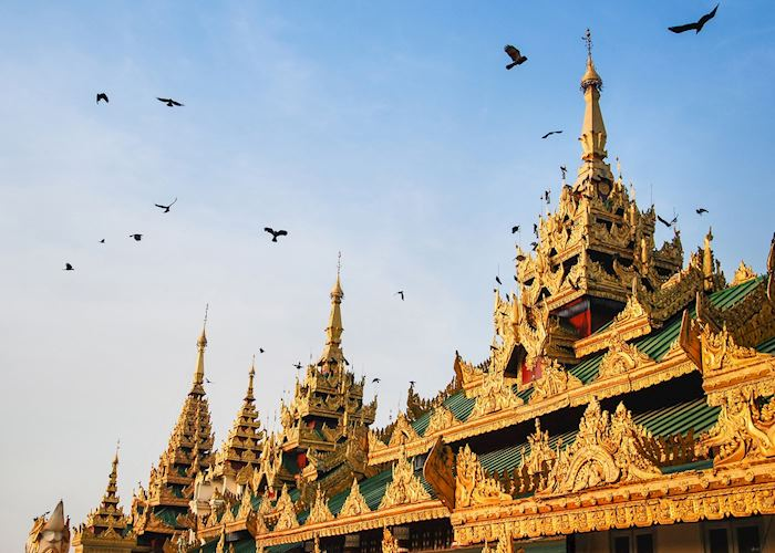 Close-up of Shwedagon Pagoda, Yangon (Rangoon)