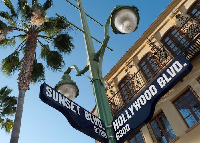 Sunset and Hollywood Boulevard Street Sign