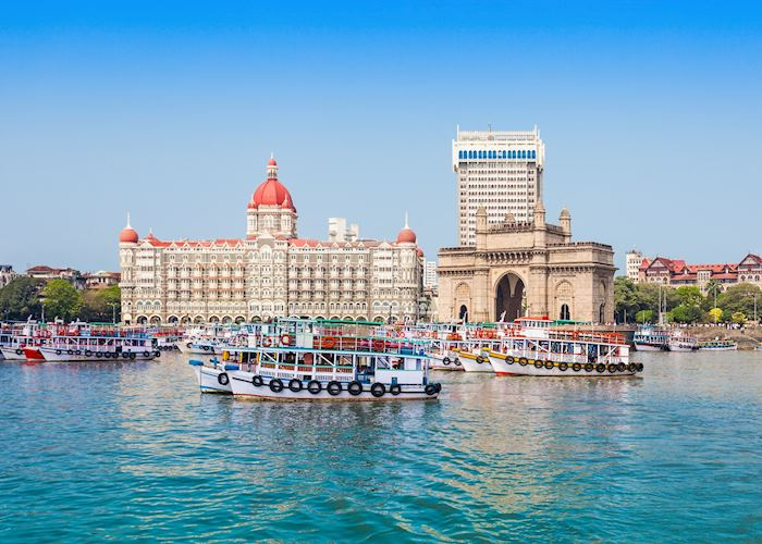 The Gateway of India and boats as seen from the Harbour in Mumbai