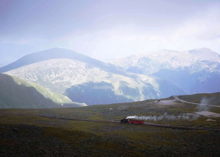 Steam Train and mountain views from the top of Mount Washington