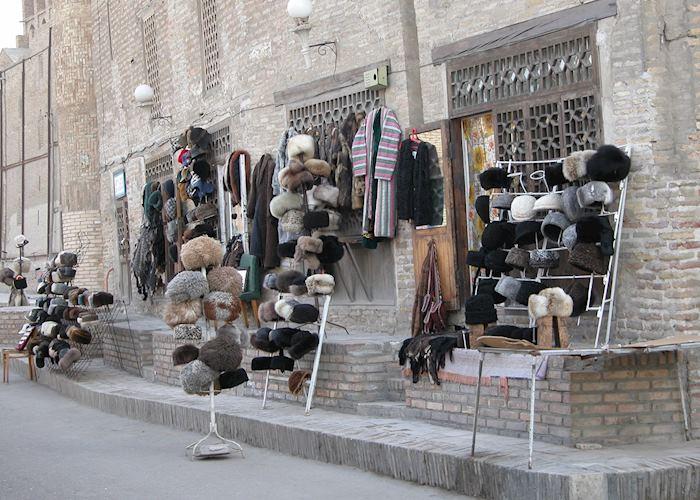 Shapka hats for sale, Bukhara