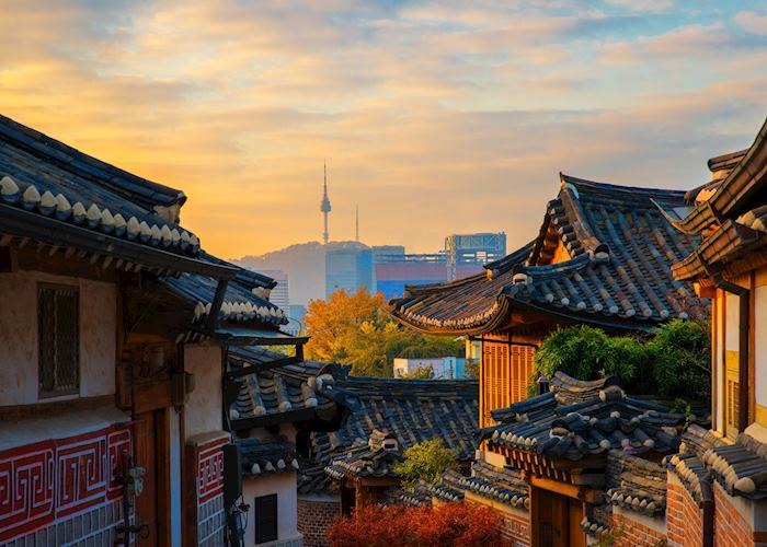 Sunrise over traditional shop houses in Seoul