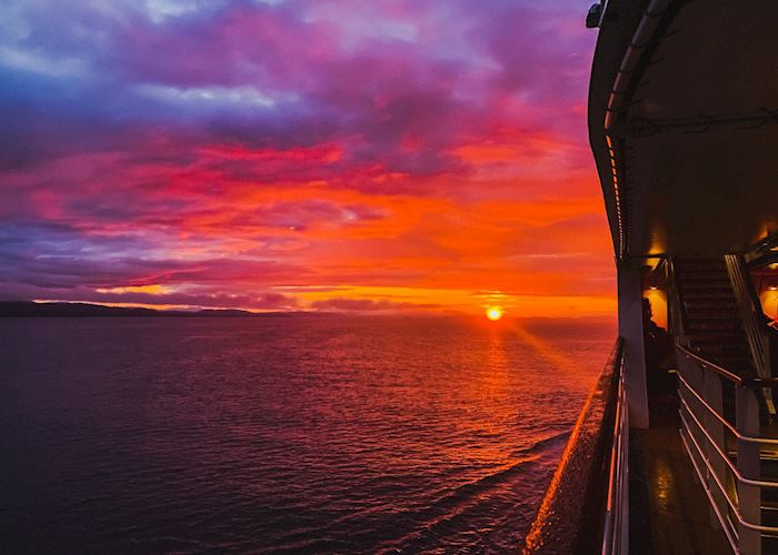 Sunset aboard Silversea Muse, Alaska