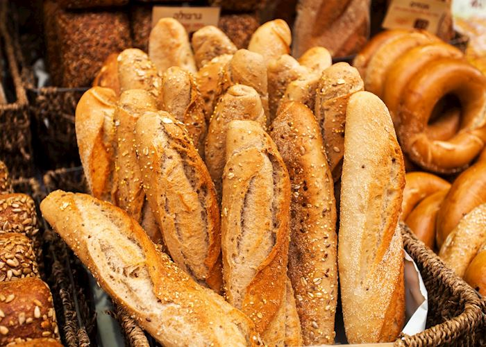 Bread counter at the Mahane Yehuda Market, Jerusalem