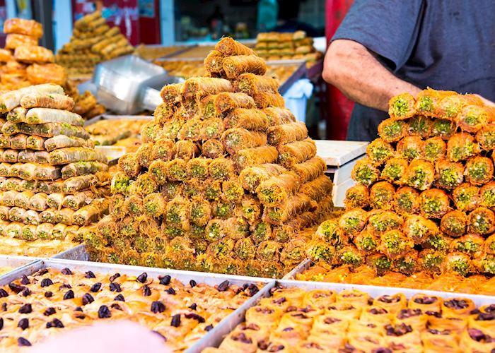 Baked sweets at market, Israel