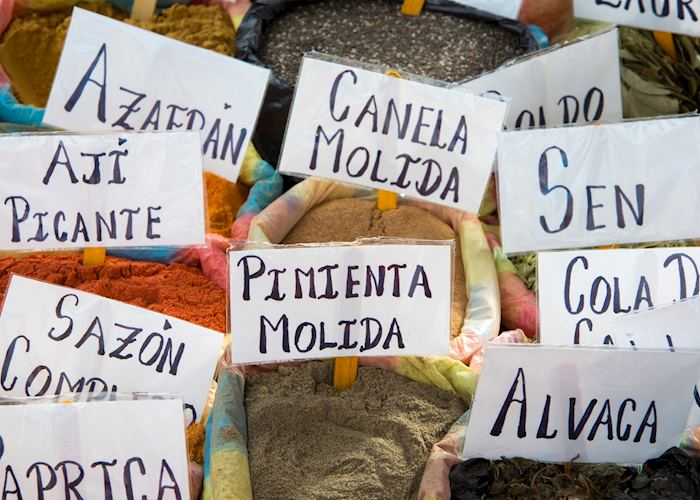 Bags of spices at Otavalo