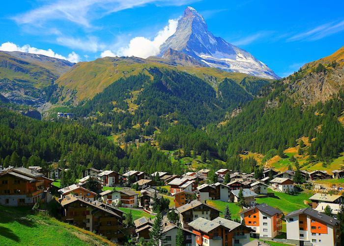 The Matterhorn towers over Zermatt
