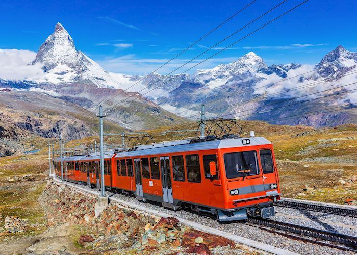 Cog train on the Gornergrat Glacier, Zermatt