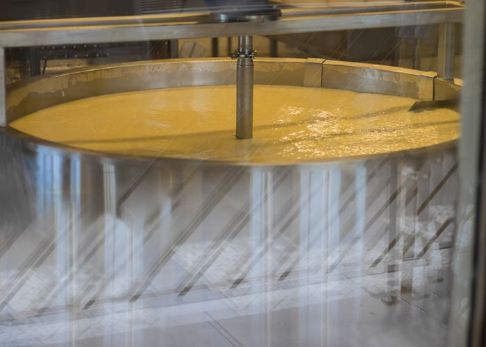 Stirring milk for cheese production