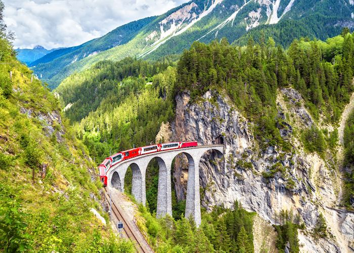 Glacier Express train on the Landwasser Viaduct