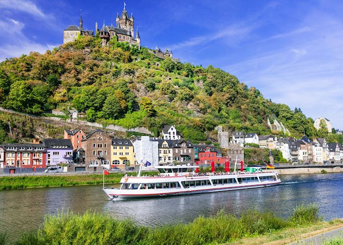 Medieval castle and town on the Rhine