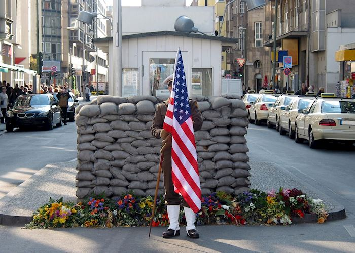 American solider at Checkpoint Charlie