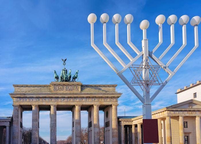 Hanukkah Menorah at Brandenburg gate in Berlin