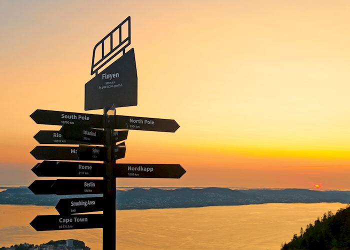 Signpost at the top of Mount Fløyen