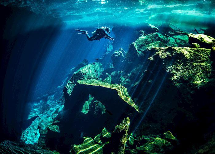 Diver in Mexico's Yucatan Peninsula