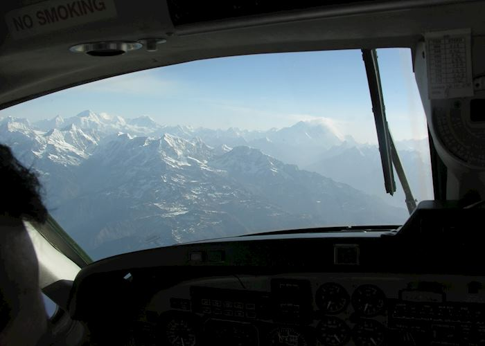 View from the cockpit on the scenic mountain flight