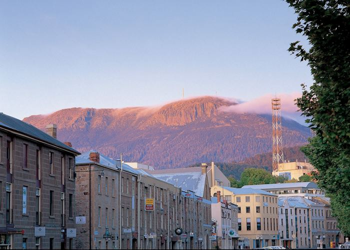 Salamanca Place with Mt Wellington, Hobart, Australia