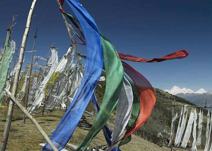 Prayer flags above the Phobjikha Valley, Bhutan