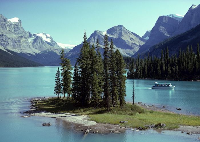 Spirit Island on Maligne Lake, near Jasper