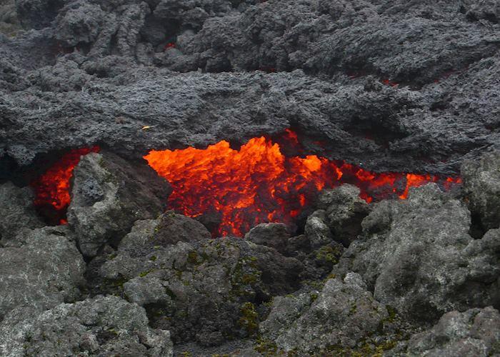 Molten lava flows at Volcano Pacaya, Antigua Guatemala