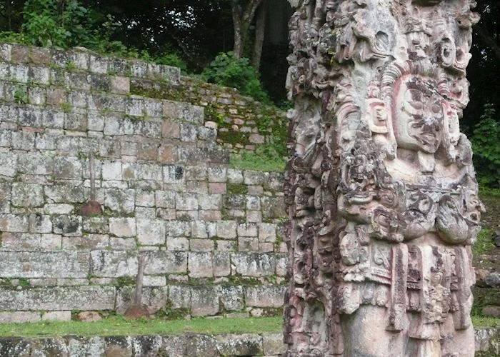 Intricate designs on the Mayan stelae