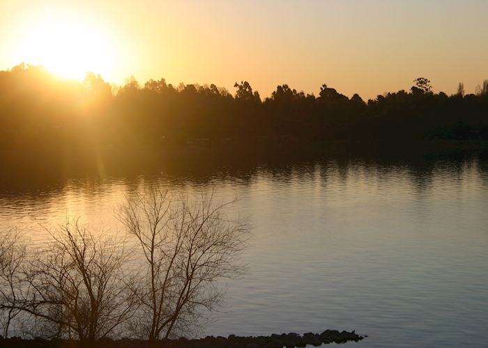 Sunset from the terrace, Villarrica Park Lake Hotel, Pucon