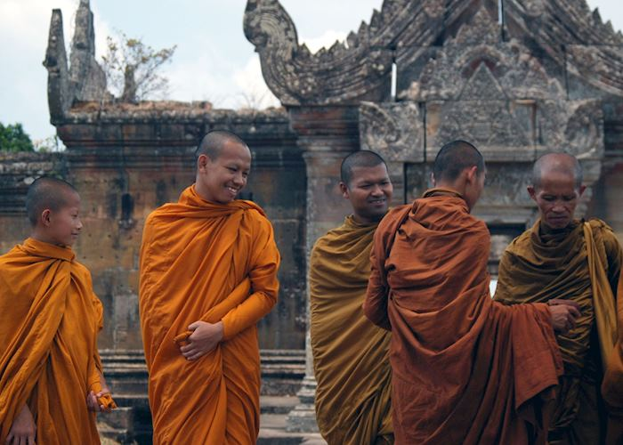 Buddhist monks outside the central sanctuary at Preah Vihear
