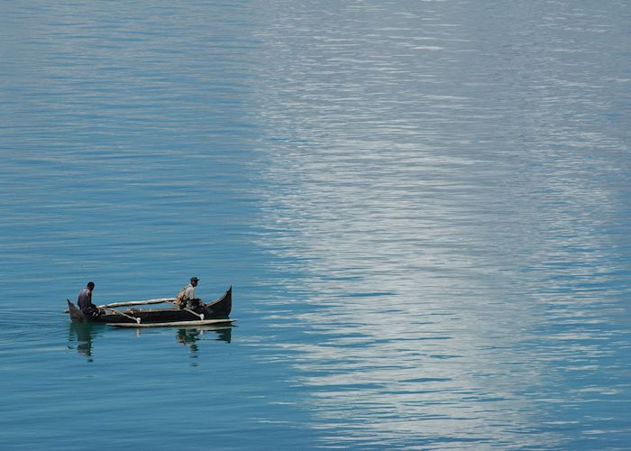 Fishermen in a pirogue off Nosy Komba