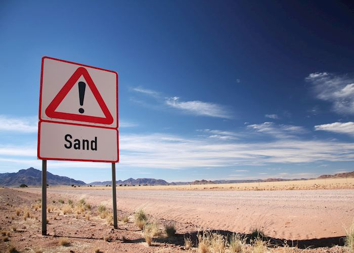 There is often sand on the road from Aus to Luderitz