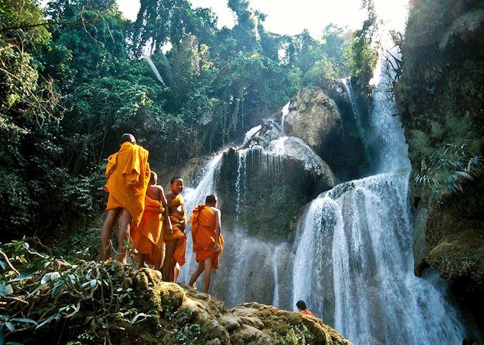 Monks at Kuang Si Falls, Luang Prabang