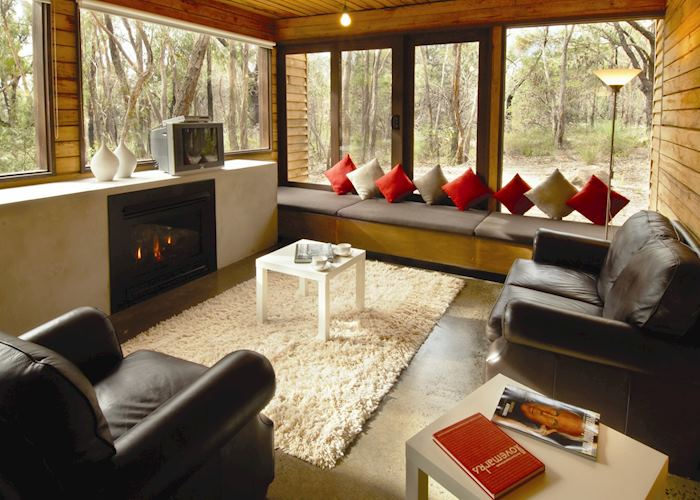 Living area of mountain view cabin, DULC Holiday Cabins, The Grampians National Park