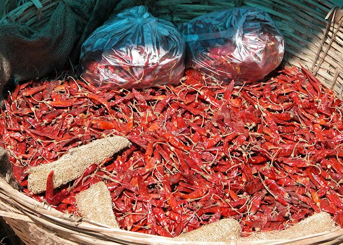 Dried chillis on sale at the weekend market, Thimpu