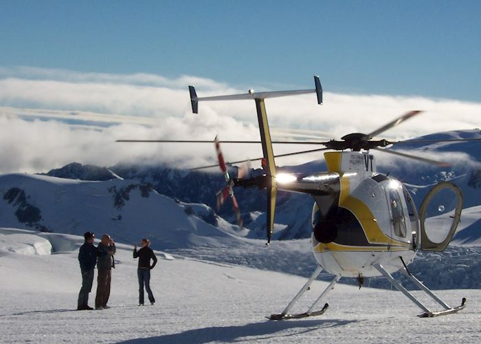 Helicopter landing, Fox Glacier