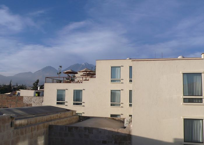 View over Casa Andina Private Collection, Arequipa with Chachani volcano in the background