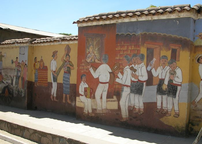 San Juan Comalapa Cemetary wall mural